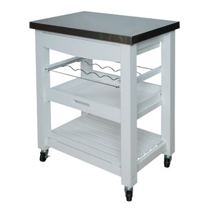 Precious Compact Kitchen Cart with Stainless Steel Top Winston Porter