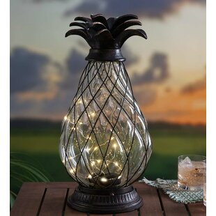 Plow & Hearth Solar Glass Pineapple Lantern