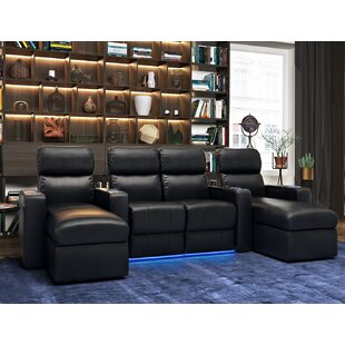 Leather Home Theater Sofa (Row of 4) by Red Barrel Studio
