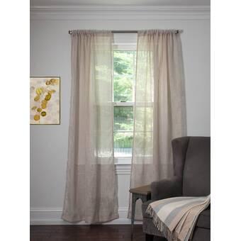 Canora Grey Menard Geometric Sheer Rod Pocket Curtain Panels Wayfair