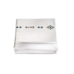 Hancock 4 Piece Southwest Diamond Embroidered 200 Thread Count 100% Cotton Sheet Set By Loon Peak