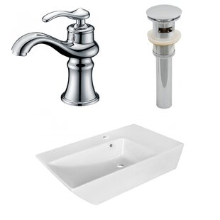 Compare & Buy Ceramic Rectangular Vessel Bathroom Sink with Faucet and Overflow By American Imaginations