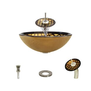 Searching for Foil Undertone Glass Circular Vessel Bathroom Sink with Faucet By MR Direct