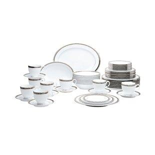 Austin Platinum 50 Piece Dinnerware Set, Service for 8