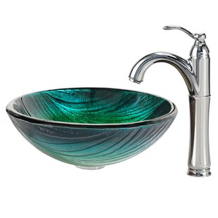 Compare Glass Circular Vessel Bathroom Sink with Faucet By Kraus