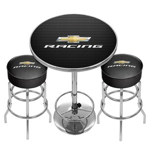 Chevy Racing Game Room Combo 3 Piece Pub Table Set by Trademark Global