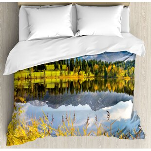 East Urban Home Nature Pastoral Countryside Scenery By the Lake with Reflections Alpine Meadow Picture Duvet Set