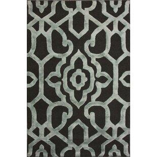 Compare prices Rocha Hand-Woven Gray/Black Area Rug ByHouse of Hampton