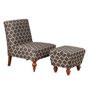 Palafox Trellis Pattern Fabric Upholstered Wooden Side Chair and Ottoman (Set of 2)
