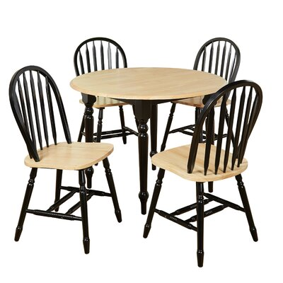 Cecelia 5 Piece Dining Set Finish: Black / Natural by Alcott Hill