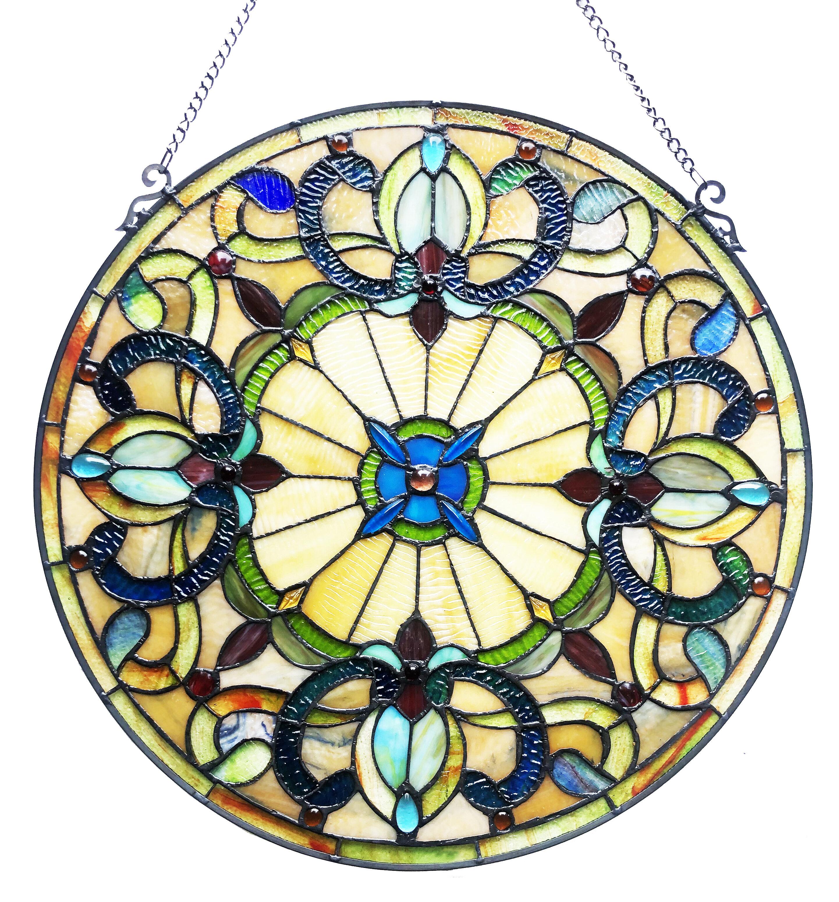 August Grove Henninger Stained Glass Window Panel Wayfair