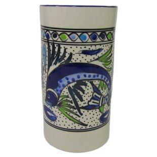 Aqua Fish Stoneware Utensil/Wine Holder