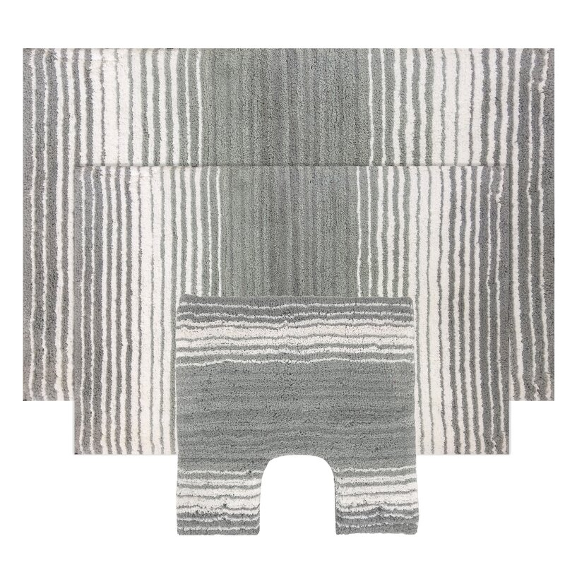 Rosecliff Heights Sewell Rectangle 100 Cotton Non Slip Striped 3 Piece Bath Rug Set Reviews Wayfair