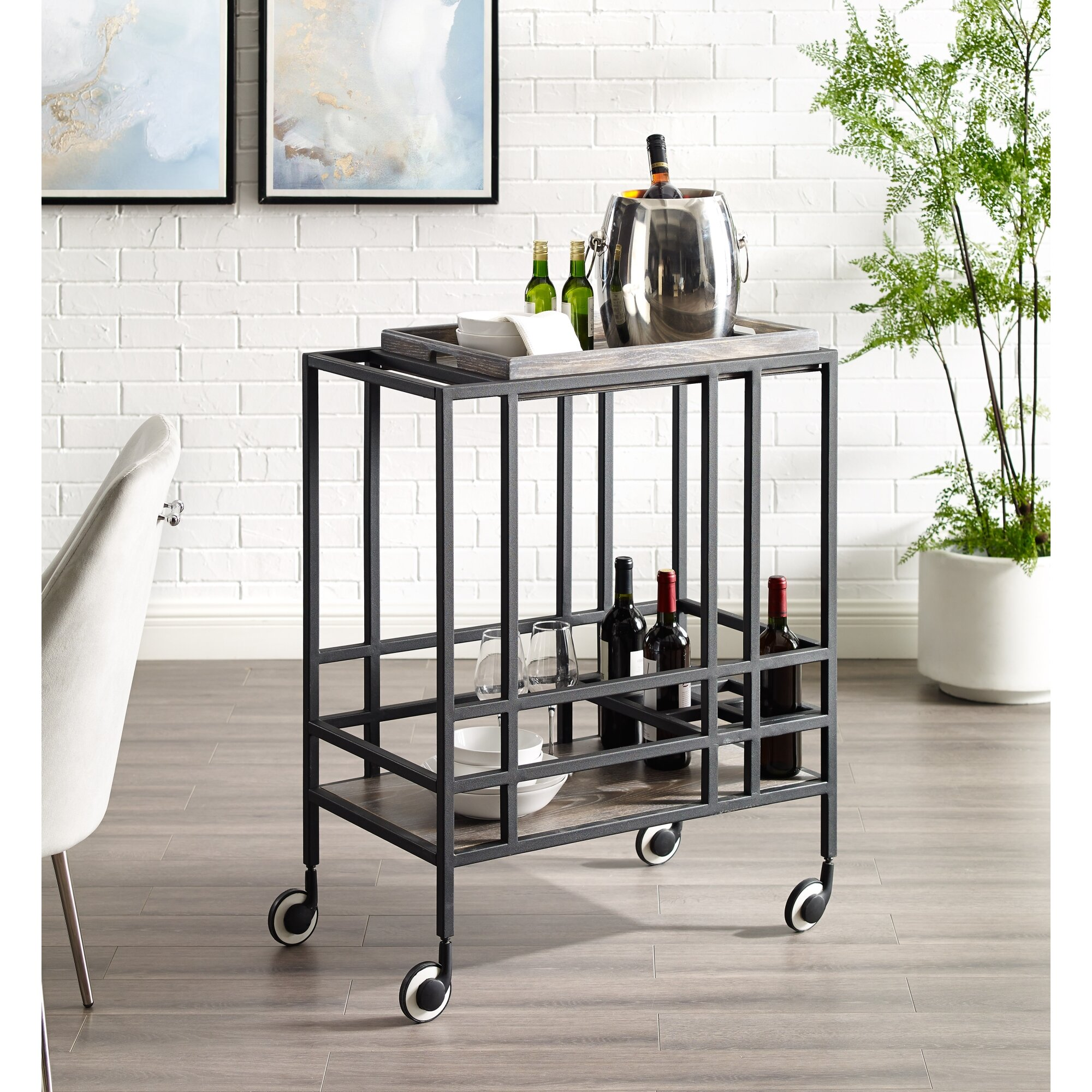 17 Stories Hopkins Serving Bar Cart Wayfair