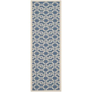 Short Blue/Beige Indoor/Outdoor Area Rug