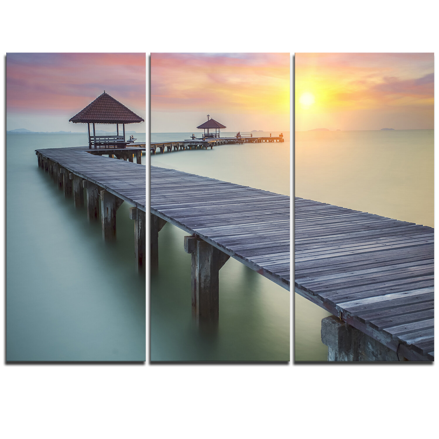 Designart Long Wooden Bridge Into The Sunrise 3 Piece Graphic Art On Wrapped Canvas Set Wayfair