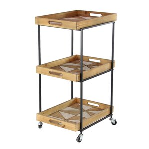 Valeria Modern Wood and Iron 3-Tier Bar Cart by Union Rustic