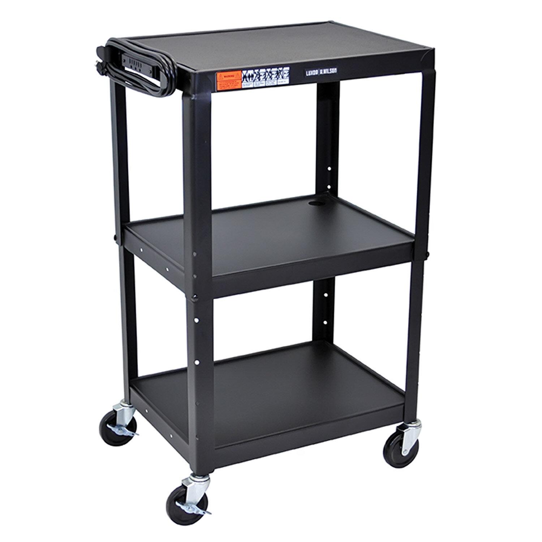 Offex Multipurpose Mobile Adjustable Height 3 Shelves Metal Rolling Storage Cart | Wayfair  sc 1 st  Wayfair & Offex Multipurpose Mobile Adjustable Height 3 Shelves Metal Rolling ...