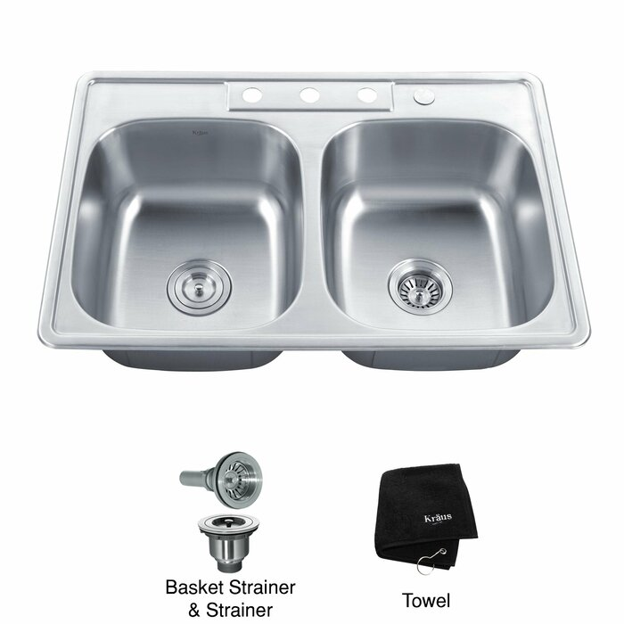 Fine Stainless Steel 33 L X 22 W Double Basin Drop In Kitchen Sink Complete Home Design Collection Lindsey Bellcom