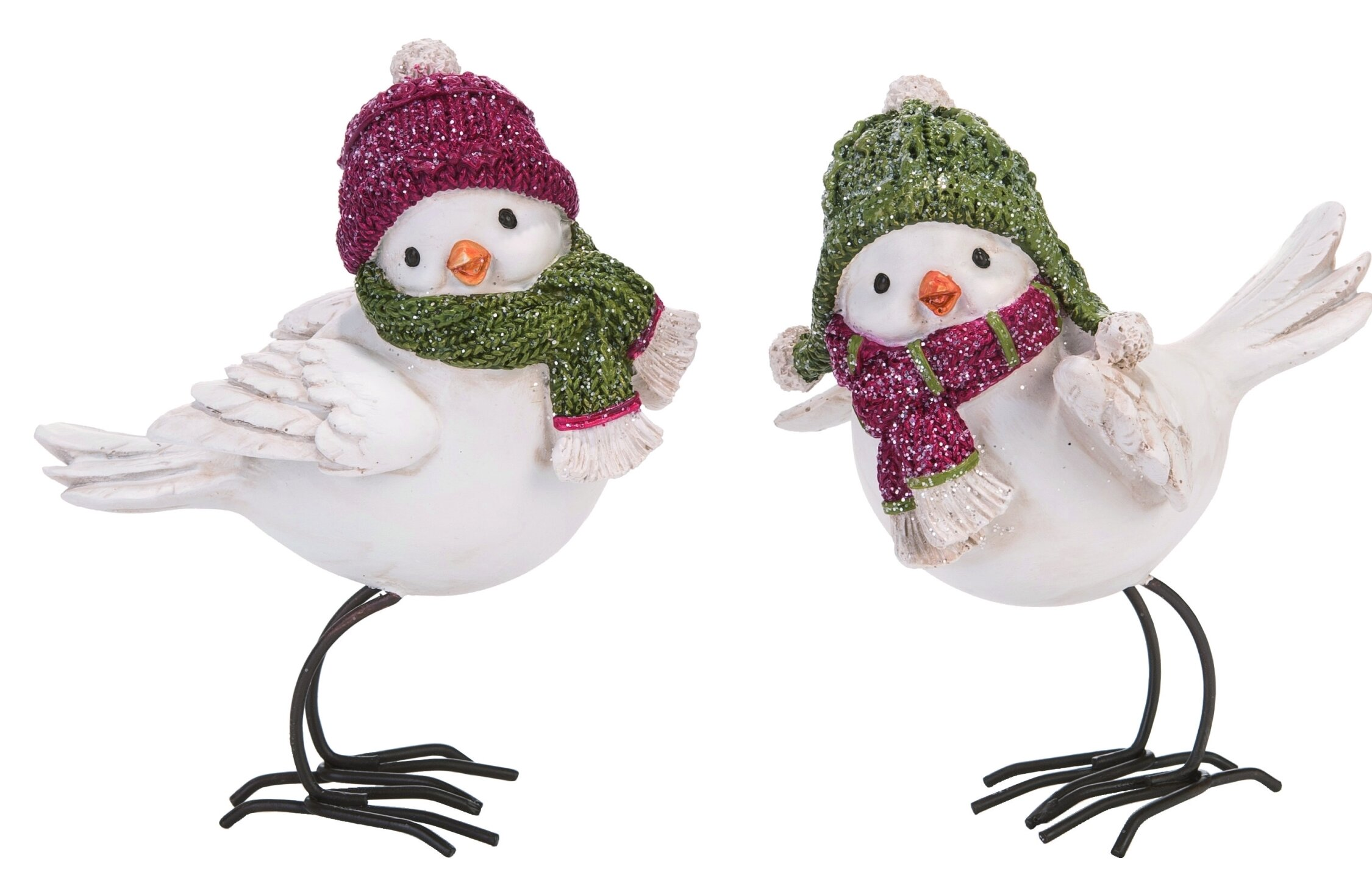 The Holiday Aisle 2 Piece Resin Christmas Standing Bird Couple Figurine Set Wayfair