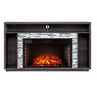 Callum Glass Tiled Media Electric Fireplace by Millwood Pines