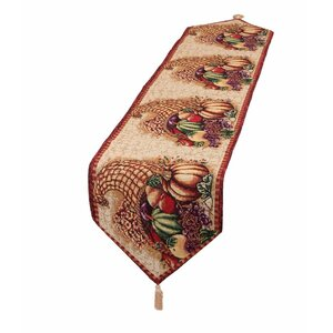 Fall Harvest Cornucopia with Pumpkins and Fruit Table Runner