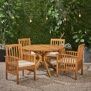 Soares Acacia Round 5 Piece Dining Set with Cushions