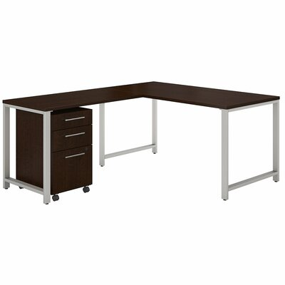 Bush Business Furniture 400 Series 3 Piece L-shaped Desk Office Suite Color: Mocha Cherry