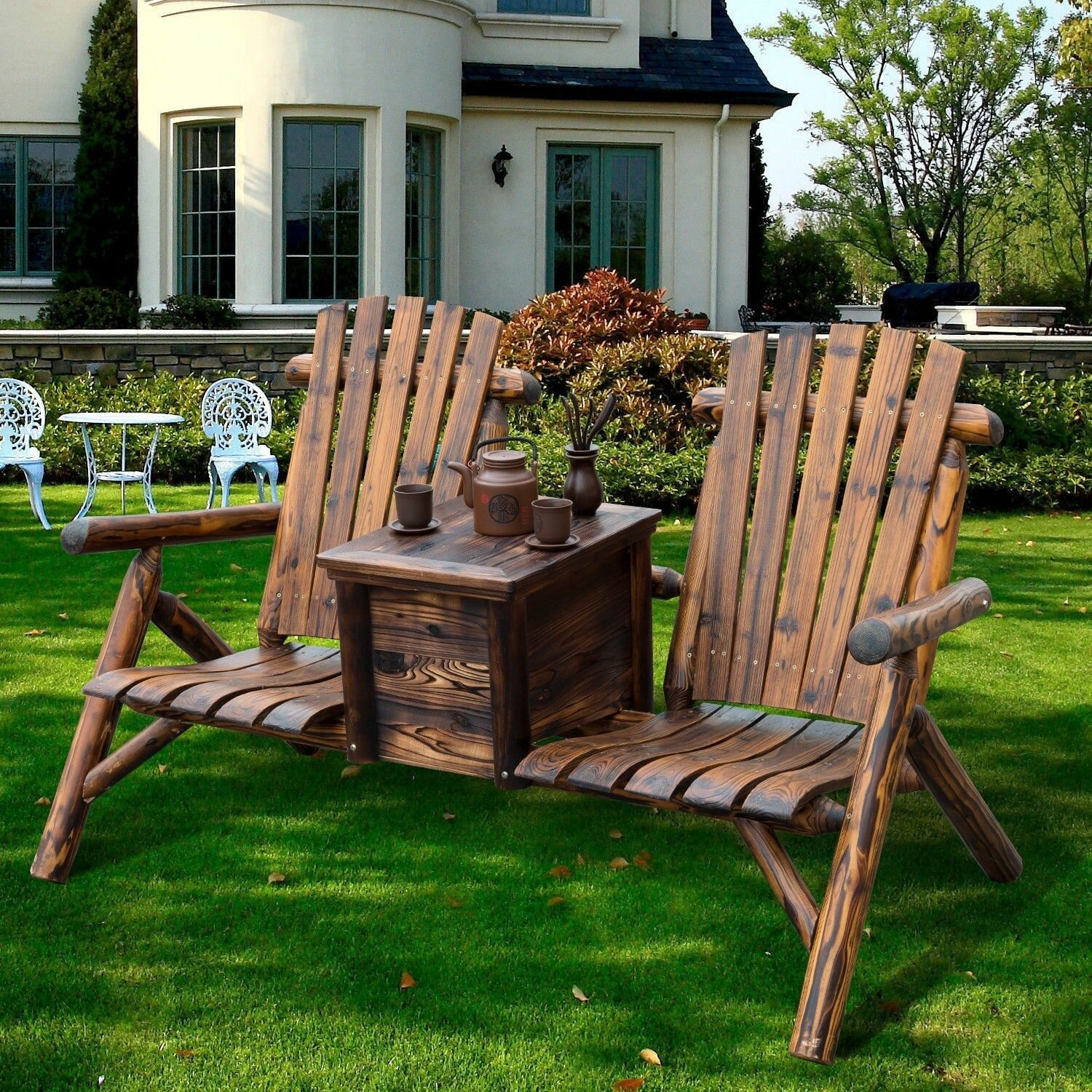 Picture of: Millwood Pines Gwen Solid Wood Double Adirondack Chair With Table Reviews Wayfair