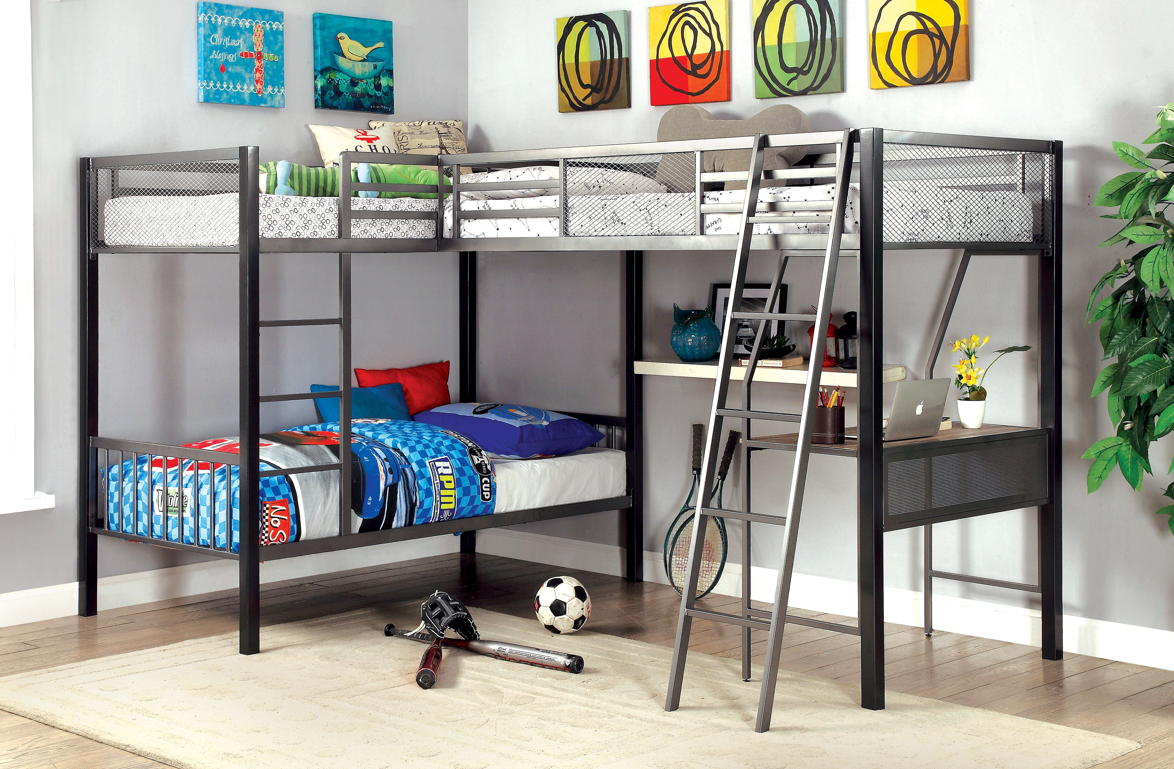 Isabelle Max Adnaan Contemporary Twin Over Twin L Shaped Bunk Loft Bed With Storage And Display Shelf Reviews Wayfair