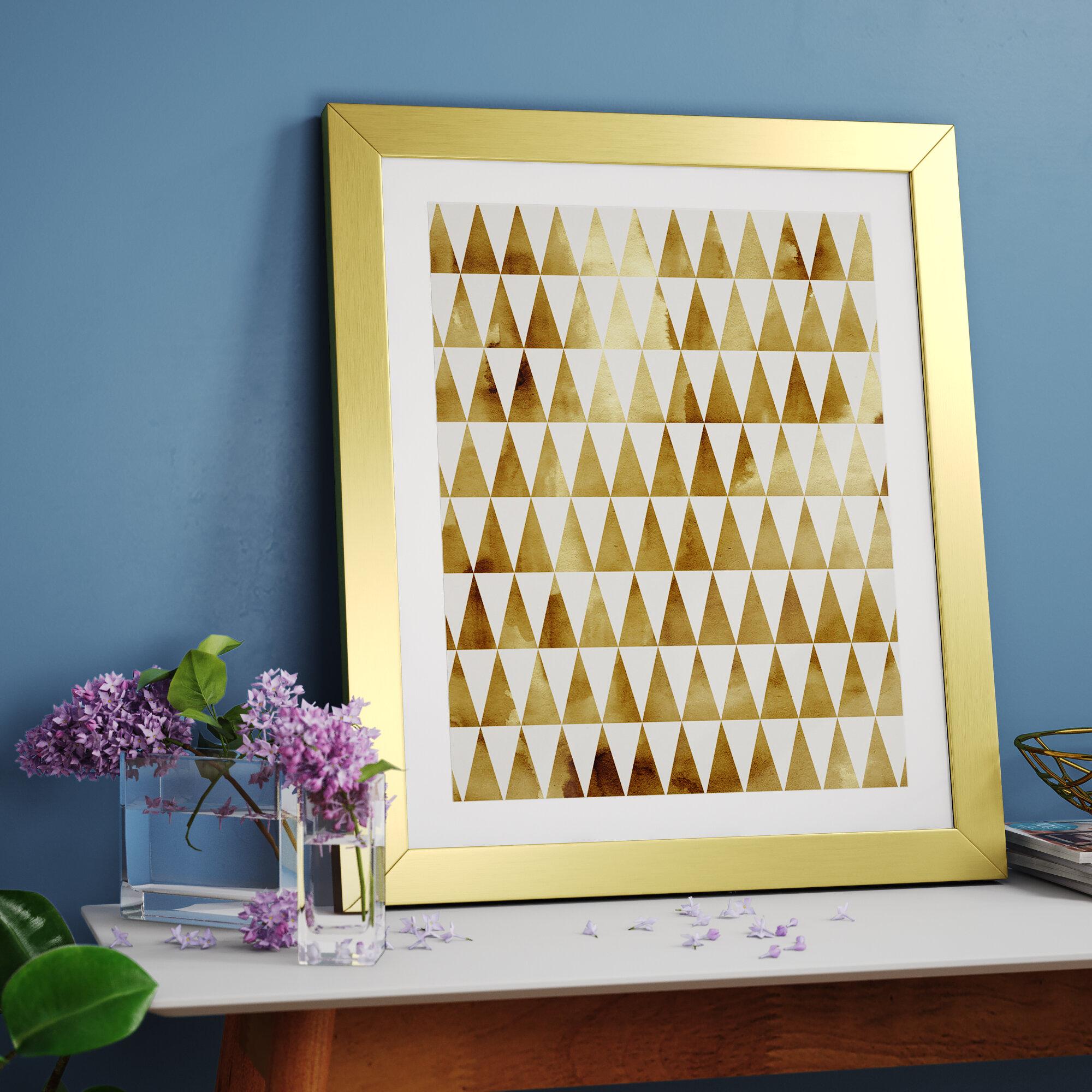 East Urban Home Triangle Pattern Gold Framed Graphic Art | Wayfair