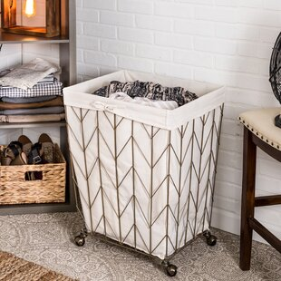 Gracie Oaks Coastal Decorative Rolling Laundry Hamper
