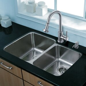 VIGO 32 inch Undermount 60/40 Double Bowl 18 Gauge Stainless Steel Kitchen Sink with Astor Stainless Steel Faucet, Two Gri...