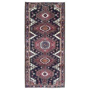 Alasan Persian Semi-Antique Hamadan Oriental Hand Woven Wool Navy Area Rug