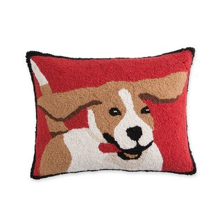 Hooked Wool Beagle Lumbar Pillow
