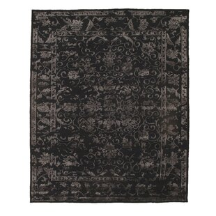 Best Reviews Pile Sumak Hand-Woven Wool Black Area Rug ByPasargad NY
