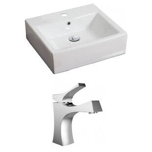 Ceramic 21 Wall Mount Bathroom Sink with Faucet and Overflow American Imaginations