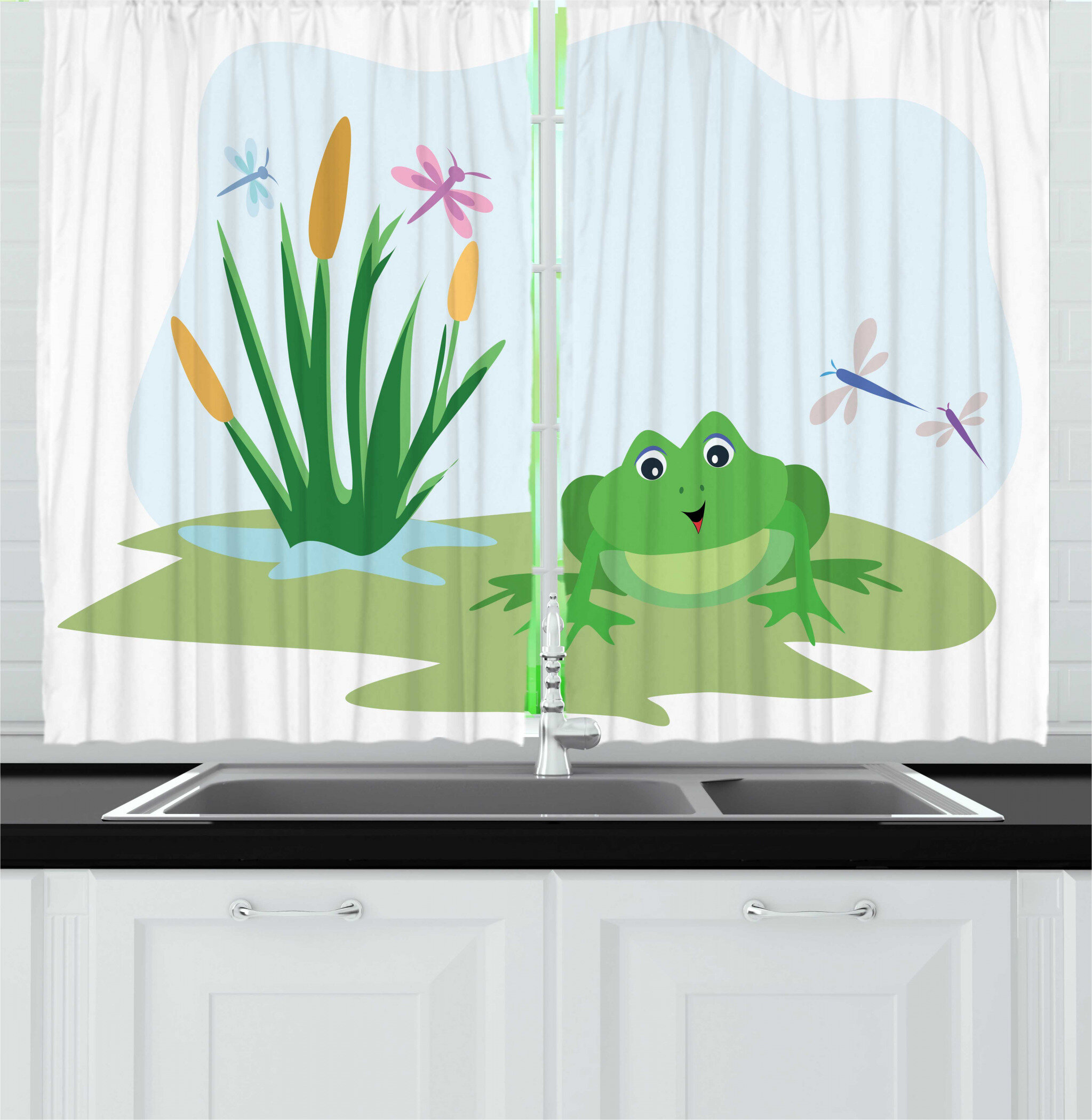 East Urban Home 2 Piece Frogs Cartoon Scene With Dragonflies Plants And Amphibian Animal Kitchen Curtain Set Wayfair