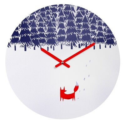 East Urban Home Alone In The Forest Wall Clock Size: Small, Shape: Round