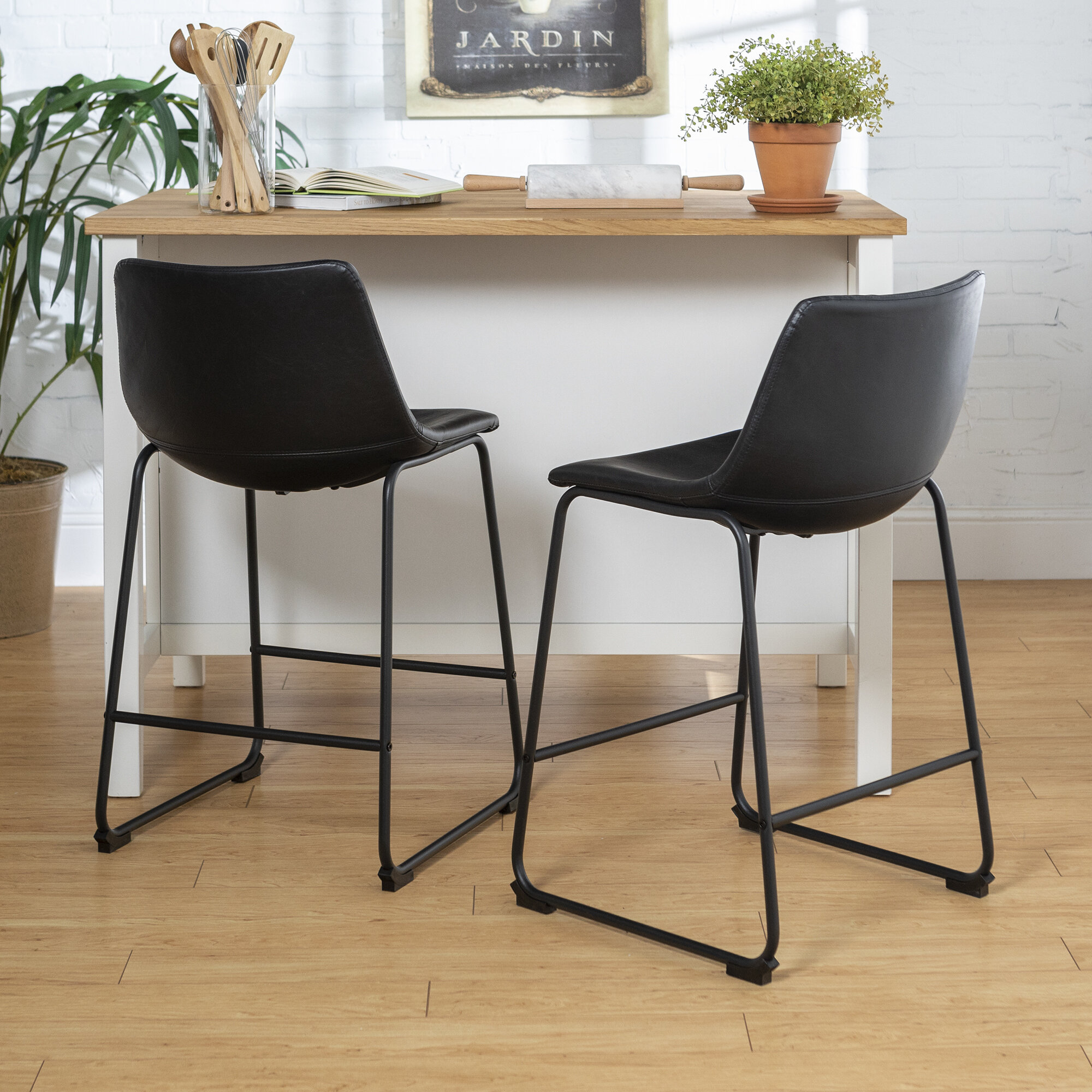 Bar Chair Bentwood Brown Leather Effect Chrome Base Kitchen Breakfast Stool
