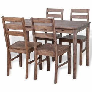 Coffey 5 Piece Solid Wood Dining Set by Millwood Pines
