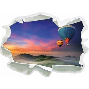 Hot Air Balloons Over A Wonderful Alpine Landscape Wall Sticker By East Urban Home