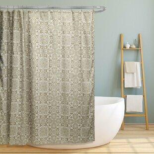 Rey Floral Scroll Geometric Shower Curtain ByLatitude Run