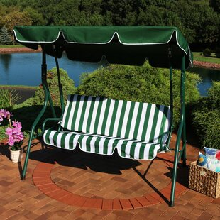 Winston Porter Sunseri 3-Person Striped Seat Outdoor Canopy Patio Porch Swing