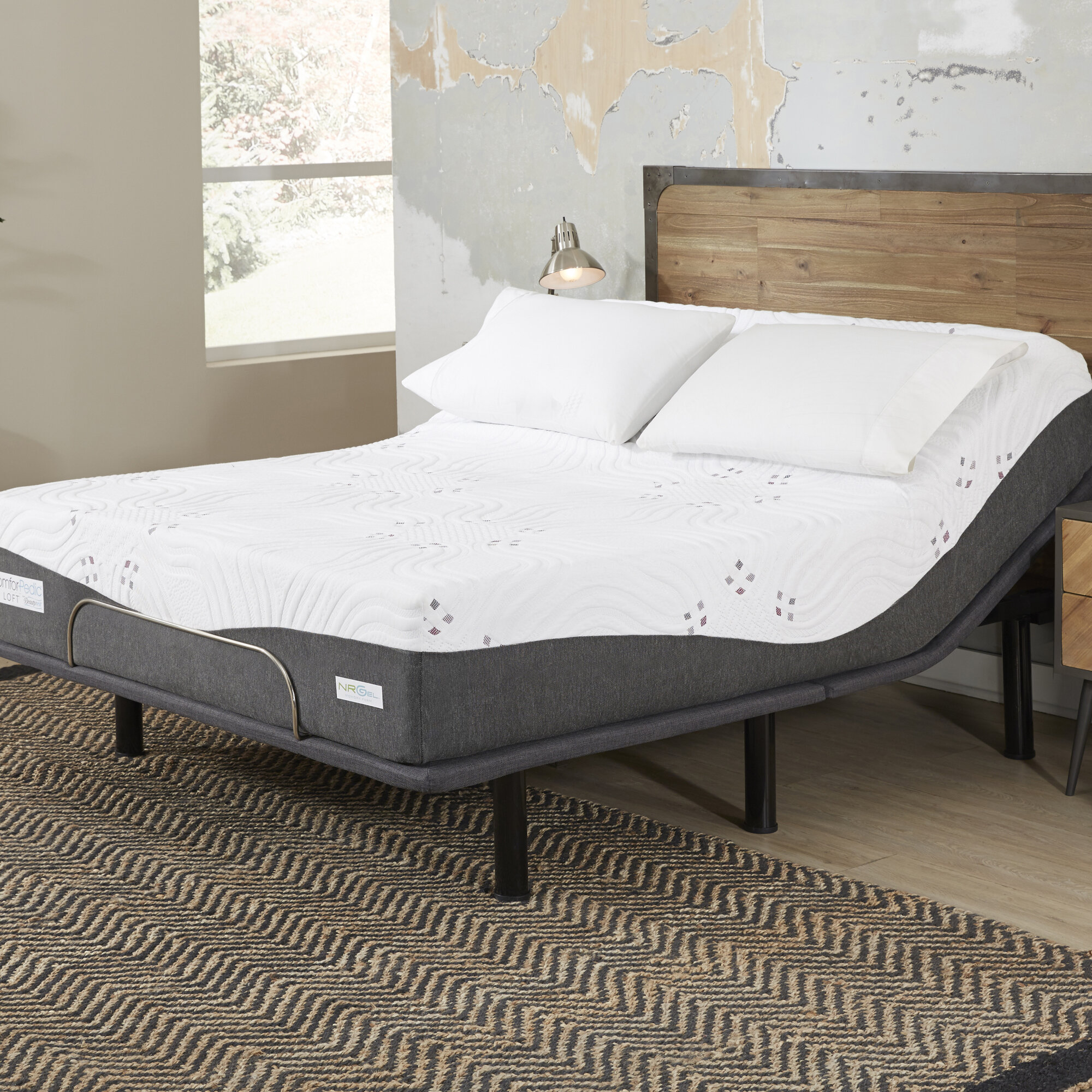 Comforpedic Loft From Beautyrest 12 Medium Gel Memory Foam Mattress With Bed Frame And Adjustable Base Wayfair