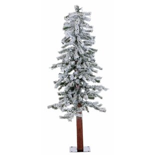 flocked alpine 4 whitegreen pine trees artificial christmas tree with 100 clearwhite lights