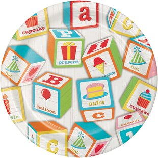 ABC Blocks Birthday Appetizer Plate (Set of 24)