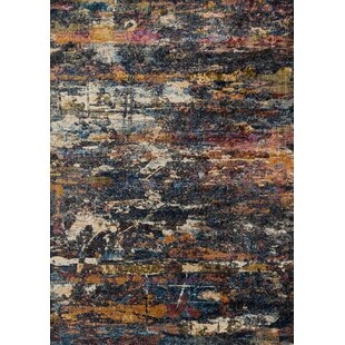 Compare prices Dangelo Orange/Black Area Rug ByWrought Studio