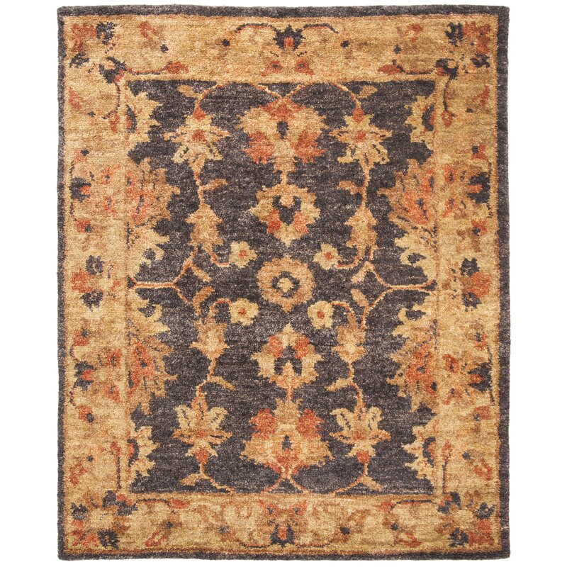 Alcott Hill Lafountain Hand-Knotted Charcoal/Gold Area Rug, Size: Rectangle 8 x 10