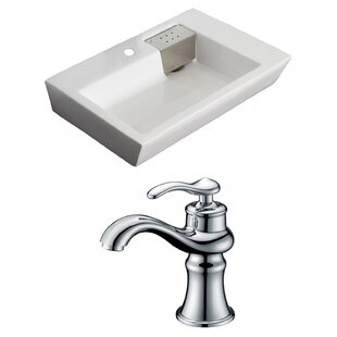 Find a Ceramic Rectangular Vessel Bathroom Sink with Faucet and Overflow ByAmerican Imaginations
